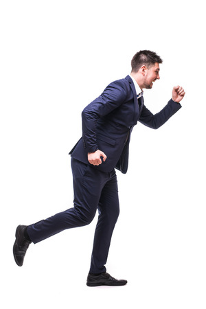 runing: Runing man in suit on white