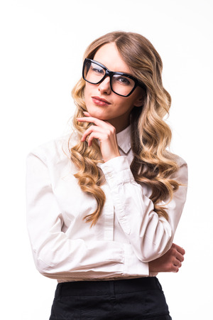 white backgroung: Portrait of Young business girl with eyeglasses on white backgroung