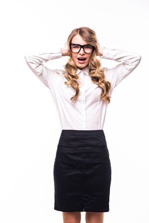 white backgroung: Young business girl with eyeglasses  stressed or shocked on white backgroung