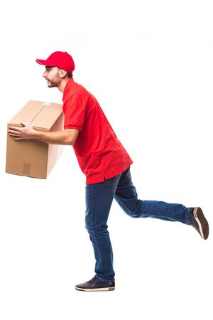 runing: Runing delivery man with box