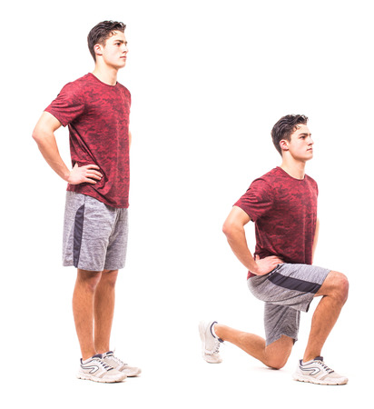 Young man doing sport exercise.