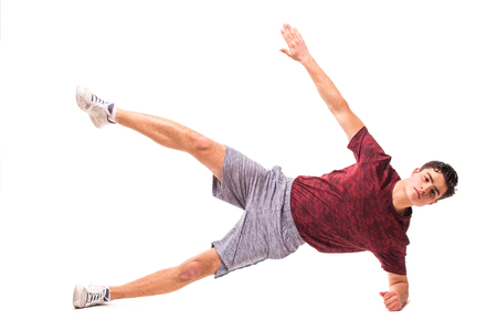 Side Plank Star . Young man doing sport exercise.