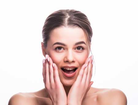 Beauty Fashion surprised Woman portrait. Beautiful model girl with perfect make up exited, screaming and open and mouth on white. Stock Photo