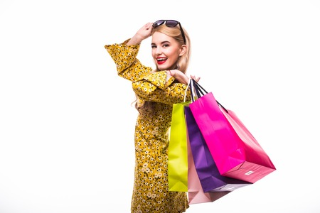 woman with shopping bags. Studio shoot white background Stock Photo