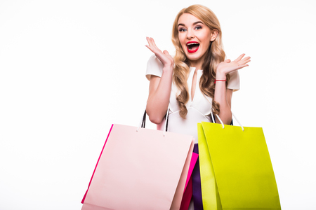 Attractive Young Woman with Shopping Bags isolated