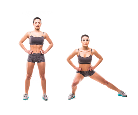 jack ass: Sport beauty woman do fitness exercises on white background. Woman demonstrate begin and end of exercises.