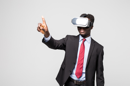 look latino: African American young man wearing vr virtual reality headset