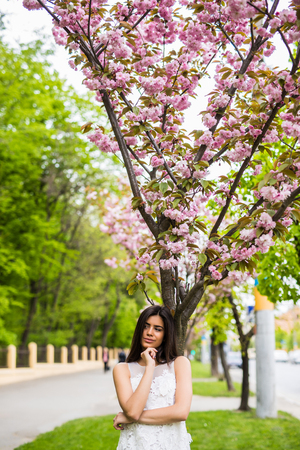Girl with sakura tree flowers Spring concept Stock Photo