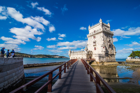 Belem tower - fortified building fort on an island in the River Tagus Stock Photo