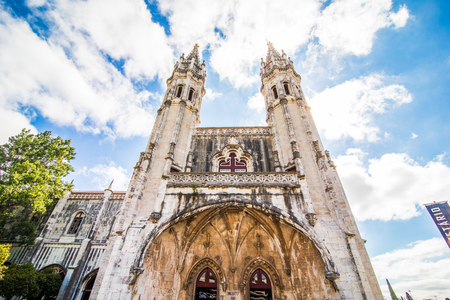 The Jeronimos Monastery or Hieronymites Monastery is located in Lisbon Stock Photo
