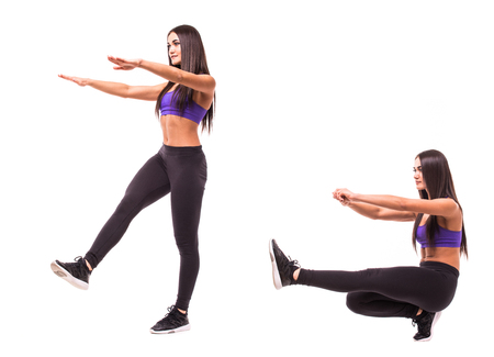 Concept of healthy lifestyle in set. Sport beauty woman do fitness exercises on white background. Woman demonstrate begin and end of exercises. Stock Photo