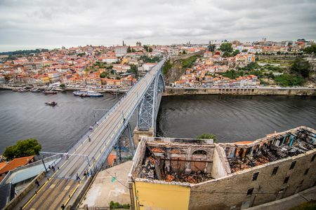 View of the iconic Dom Luis I bridge crossing the Douro River, and the historical Ribeira and Se District in the city of Porto, Portugal.