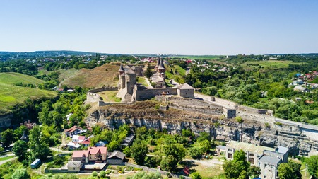 Kamianets-Podilskyi, Ukraine - August, 2017. View of Kamianets-Podilskyi city from above. Kamianets-Podilskyi Castle in Ukraine. Kamianets-Podilskyi turistic destination of Ukraine. Stock Photo