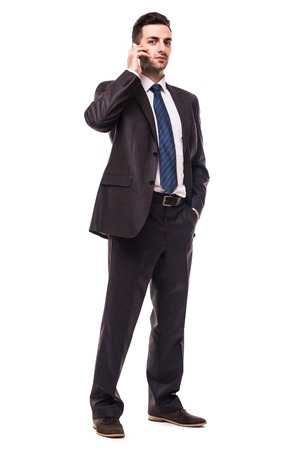 Business man Walking forward while talking on the phone over white background
