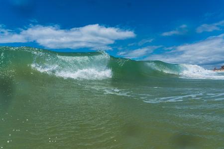 Summer powerful ocean waves breaking natural background
