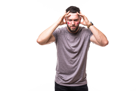 England lose. Unhappy and Failure of goal or lose game emotions of England football fan in game supporting of England national team on white background. Stock Photo