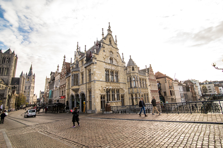 GHENT, BELGIUM - November, 2017: Architecture of Ghent city center. Ghent is medieval city and point of tourist destination in Belgium. Editorial