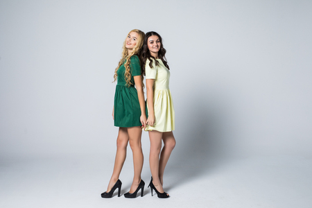 Portrait of two attractive blonde and brunette young women in dresses looking at camera on white bacgkound