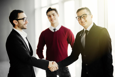 Businesswoman introducing colleagues together in their office Stockfoto