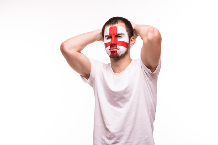 Upset loser fan support of England national team with painted face isolated on white