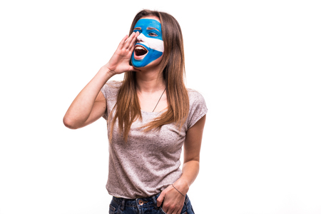 Fan support of Argentina national team with painted face shout and scream isolated on white Stock Photo
