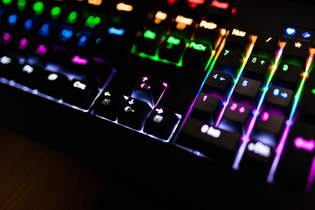 Closeup of keyboard illumination Multicolour Rainbow colors for play Games Online.