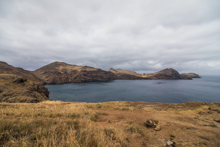 The beautiful and unusual Martian landscape of the popular trekking, hiking and walking trail on the Madeira island - the most eastern point called Ponta de Sao Lourenco
