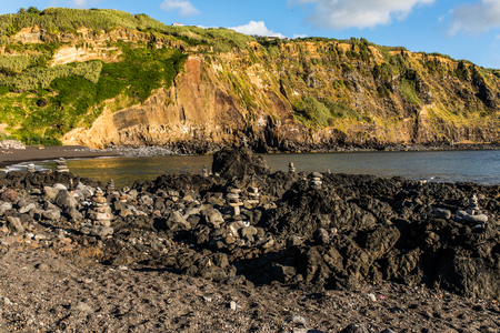 Rock at the coast in Mosteiros, Sao Miguel Island, Azores, Portugal