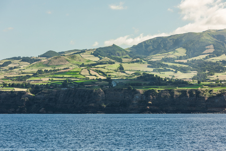 View from the ocean on island of Sao Miguel in the Portuguese Autonomous Region of the Azores.