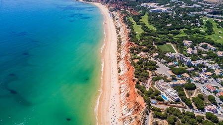 Aerial view of Algarve Beach. Beautiful Falesia beach from above in Portugal.