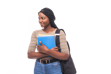 College student young African American woman on white background