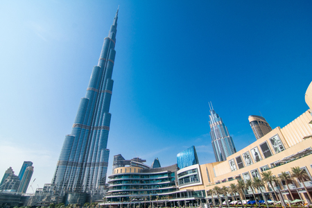 DUBAI, UNITED ARAB EMIRATES - October, 2018: Burj Khalifa tower. This skyscraper is the tallest man-made structure in the world