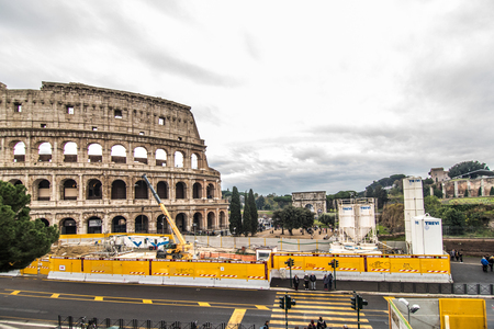 ROME, ITALY- November, 2018: Colloseum in Rome most remarkable landmark of Rome and Italy. Colosseum elliptical amphitheatre in the centre of the city of Rome. 新闻类图片