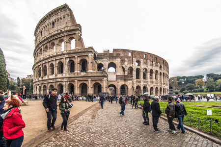 ROME, ITALY- November, 2018: Colloseum in Rome most remarkable landmark of Rome and Italy. Colosseum elliptical amphitheatre in the centre of the city of Rome. 에디토리얼