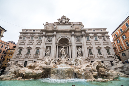 Rome, Italy - November, 2018: Trevi Fountain in Rome, Italy. Trevi is most famous fountain of Rome. Architecture and landmark of Rome, Postcard of Rome