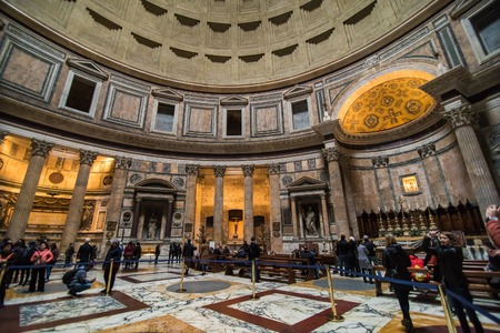 Roma, Italy - November, 2018: The Pantheon, Pantheum, or Phanteon, is a building of ancient Rome in the Pigna district in the historic center, a temple dedicated to all gods