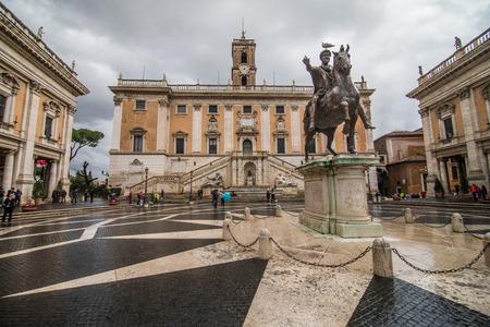 Rome, Italy - November, 2018: View of Il Campidoglio, one of the seven hills in Rome, from the Cordonata the Palazzo Senatorio, where actually the town hall