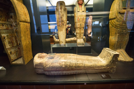 ROME, ITALY - November, 2018: ancient Egyptian pharaoh statues in the Vatican Museum