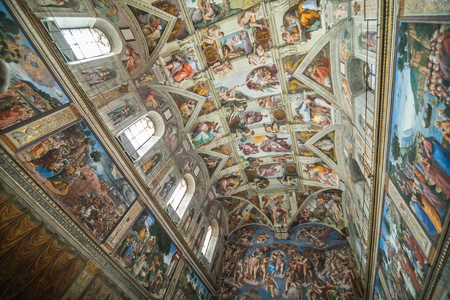 Vatican, Vatican city - November, 2018: Ceiling of the Sistine chapel in the Vatican Museu, Vatican City