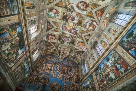 Vatikan, Vatikanstadt - November 2018: Decke der Sixtinischen Kapelle im Vatikanischen Museu, Vatikanstadt