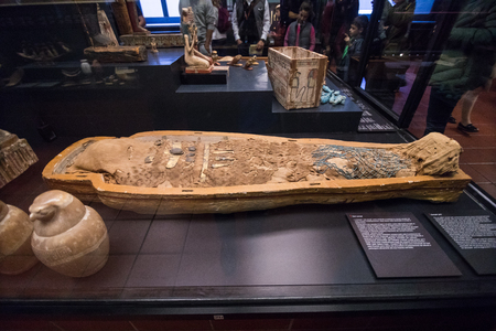 Vatican City, Italy - November, 2018: Mummy of Amenirdis from West Thebes