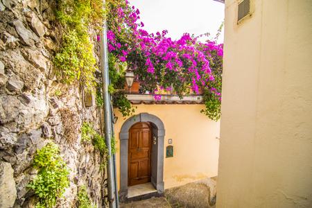 Positano, Italy - November, 2018: old cozy street in the Positano town