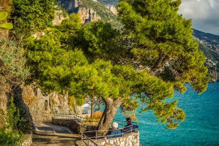 Positano, Italy - November, 2018: Beautiful houses and street in Positano shore, Amalfi coast, Italy