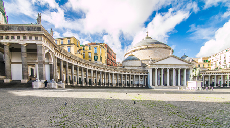 Naples, Italy - November, 2018: Church of St. Francis on the Piazza del Plebiscito in Naples Editorial