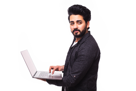 portrait of handsome arabic man with laptop isolated on white background