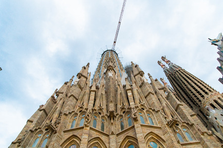 BARCELONA, SPAIN - April 2019: Sagrada Familia on April 9, 2018 in Barcelona Spain