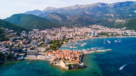 Budva, Montenegro from the air. Top view. Aerial view