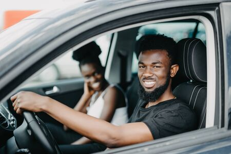 African American couple in a car 写真素材 - 130034683