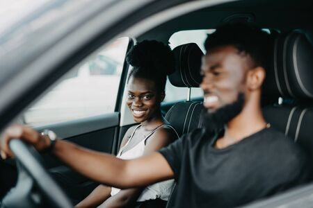 African American couple in a car 写真素材 - 130034687