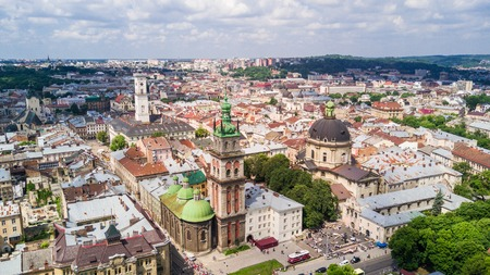 March, 2019 - Lviv, Ukraine: Aerial view of the historical center of Lviv, Ukraine. UNESCOs cultural heritage. 新聞圖片